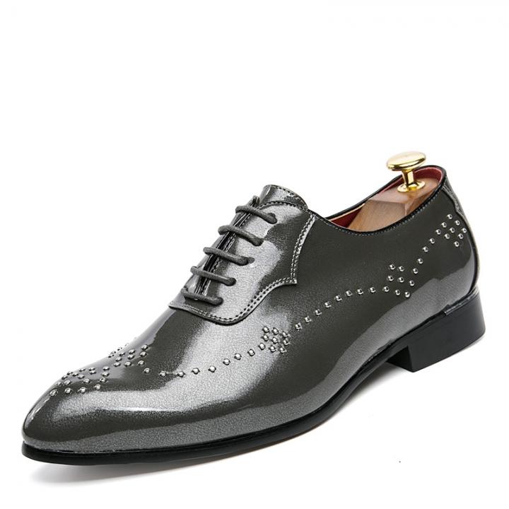 Luxurious Fashion Mens Oxfords Vintage Dress Shoes Party Shoe Man Flats Derby Shoes grey 43