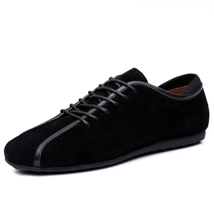 Winter Fur Mens Shoes Suede Split Leather Men's Flats Handmade Mens Loafers Designer Lace Up black 43