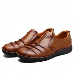 Genuine Leather Casual Shoes For Men 100% Real Cow Leather Slip-On Warm Winter Men Handmade Shoes brown 39