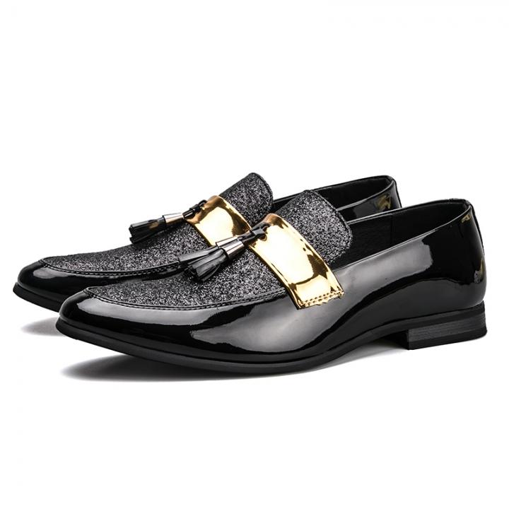 Men Tassel Loafers Men Dress Shoes British Style Men Loafers Fashion Men'S Flats Cool Business Style black 41
