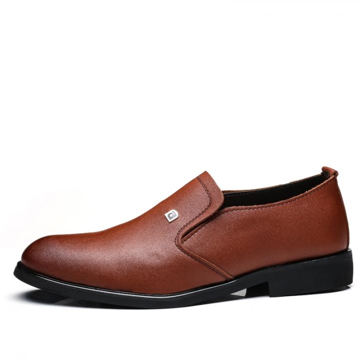 Men's Dress Shoes Black Brown Men Leather Shoes High Quality Business Men Shoes Slip On brown 43