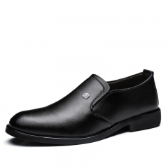 Men's Dress Shoes Black Brown Men Leather Shoes High Quality Business Men Shoes Slip On black 44