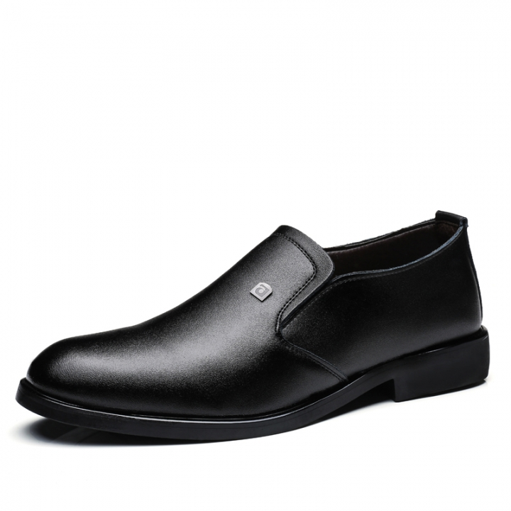 Men's Dress Shoes Black Brown Men Leather Shoes High Quality Business Men Shoes Slip On black 40