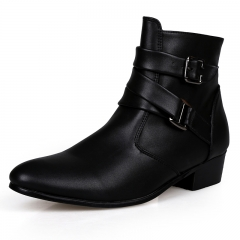 Quality Italian Mens Ankle Boots Pointed Toe High Top Casual Shoes Male Business Dress Shoes Elegant black 42