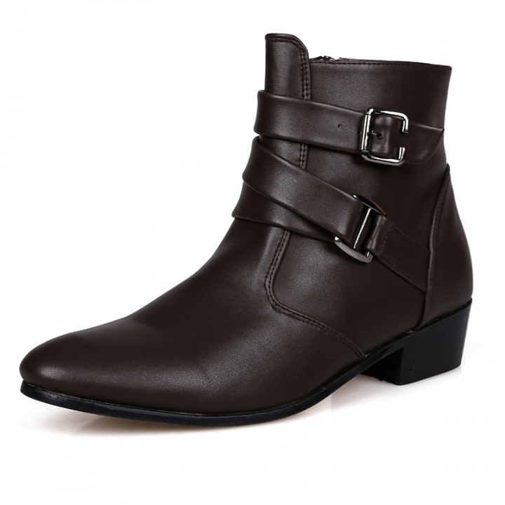 Quality Italian Mens Ankle Boots Pointed Toe High Top Casual Shoes Male Business Dress Shoes Elegant brown 42