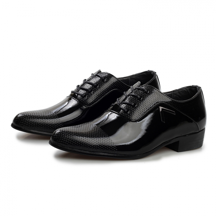 Spring Autumn Men Formal Shoes Men Business Dress Shoes Lace-up Flat Oxfords Pointed Toe Breathable black 41