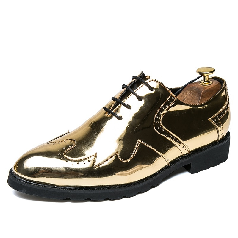 6a36d5fe1e6 Vintage Design Men s Fashion Print Patent Leather Business Dress Shoes Mens  Casual Lace-up Flats gold 43  Product No  910992. Item specifics  Brand