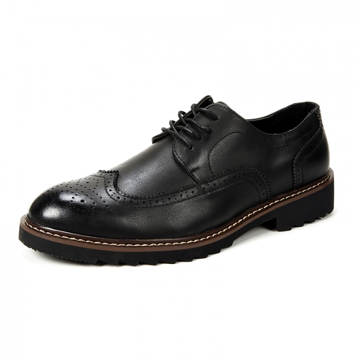 High Quality Oxford Shoes Men Brogues Shoes Lace-Up Bullock Business Dress Shoes Male Formal black 41