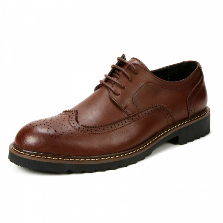 High Quality Oxford Shoes Men Brogues Shoes Lace-Up Bullock Business Dress Shoes Male Formal brown 39