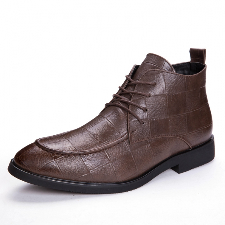 Mens Genuine Leather Brogue Boots Business Man Formal Dress Oxfords Casual Ankle Boots Winter brown 41