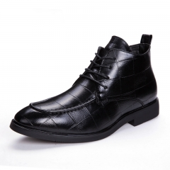 Mens Genuine Leather Brogue Boots Business Man Formal Dress Oxfords Casual Ankle Boots Winter black 39