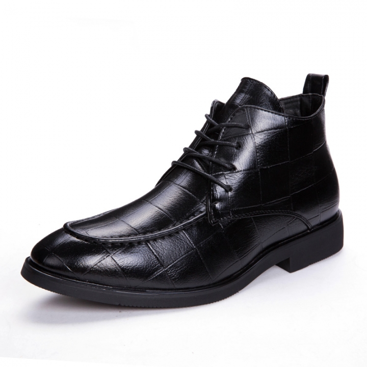 Mens Genuine Leather Brogue Boots Business Man Formal Dress Oxfords Casual Ankle Boots Winter black 42