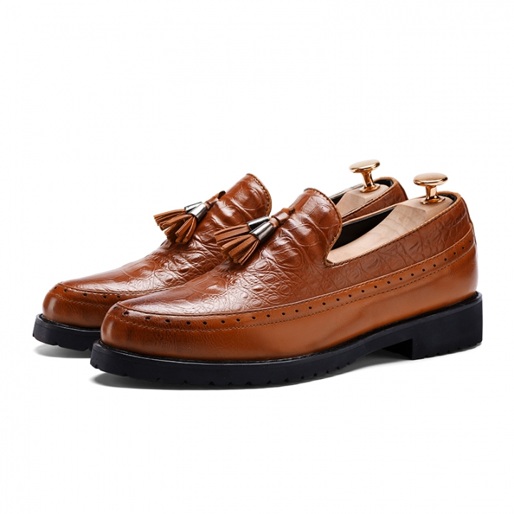 Mens Loafers With Tassels Formal Shoes Mens Italian Loafers Dress Luxury Male Shoes Office Flats brown 43