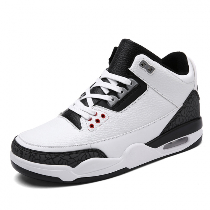 Big Size Men's Air Cushion Basketball Shoes Breathable High Top Sneaker Sport Running Shoes white 42