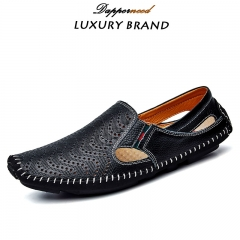 Big Size Summer Men Driving Shoes Genuine Leather Hollow out Quality Soft Men Loafers Comfortable black 38