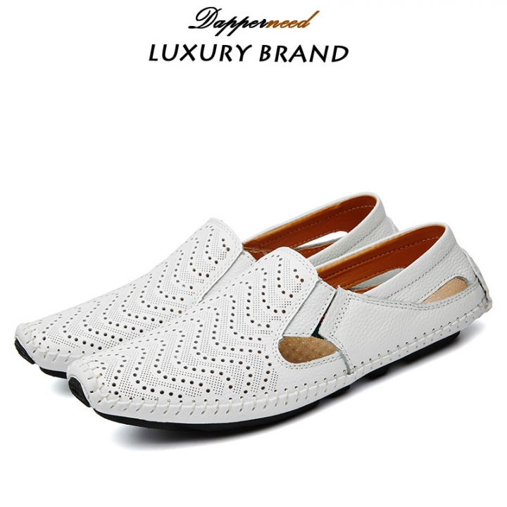 Big Size Summer Men Driving Shoes Genuine Leather Hollow out Quality Soft Men Loafers Comfortable white 47