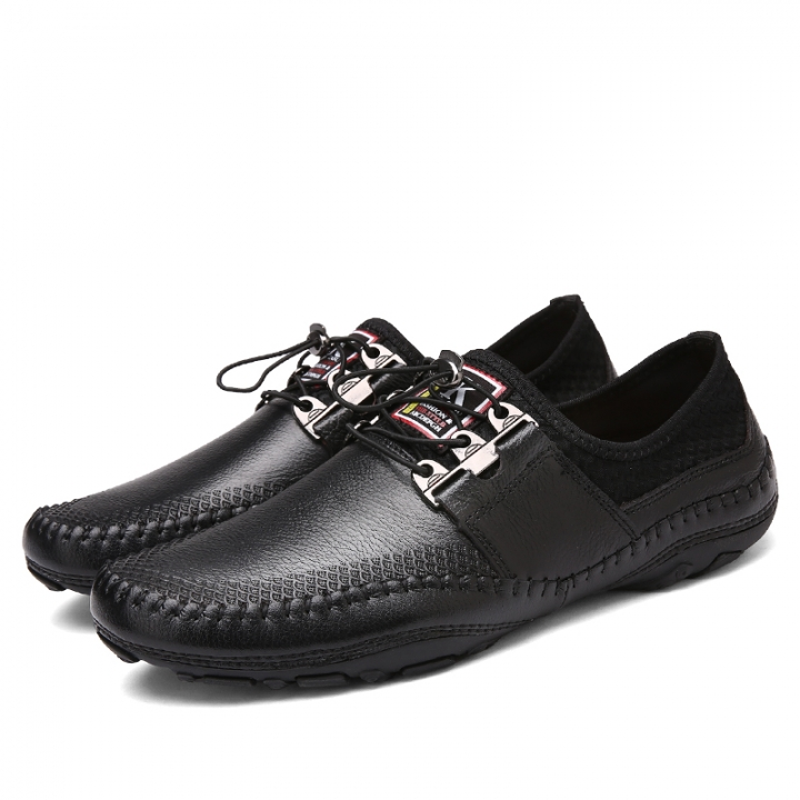 Cool Male Slip-On Metal Style Casual Men Genuine Leather Moccasins Loafers Men Driving Shoes black 44