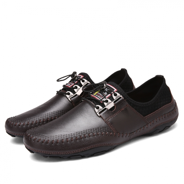 Cool Male Slip-On Metal Style Casual Men Genuine Leather Moccasins Loafers Men Driving Shoes brown 42