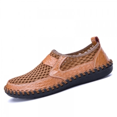Summer Men Sandals Hole Shoes Breathable Casual Sewing Leather Beach Shoes brown 39