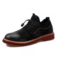 2018 Cow Leather Men Shoes Casual Lace Up Ankle Winter British Dress Handsome Cowboy Shoes black 39