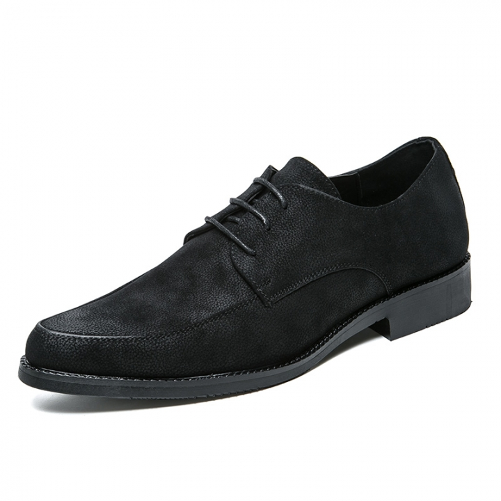 2018 New Leather Men Business Dress Loafers Black Shoes Oxford Breathable Formal Cool black 43