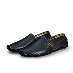 Big Size 38--47 High Quality Soft Men's Natural Leather Shoes Casual Slip On Driving Loafers black 42