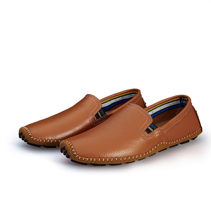 Big Size 38--47 High Quality Soft Men's Natural Leather Shoes Casual Slip On Driving Loafers brown 43