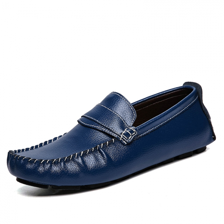 Big Size 38-47 Classical Loafer Leather Men Casual Shoes Breathable Soft Moccasins Driving Gommino blue 41