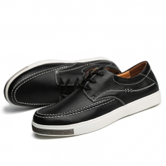 Spring Basic Men Shoes Genuine Leather Moccasin Loafers Designer Lace Ups Flat Footwear Classical black 39