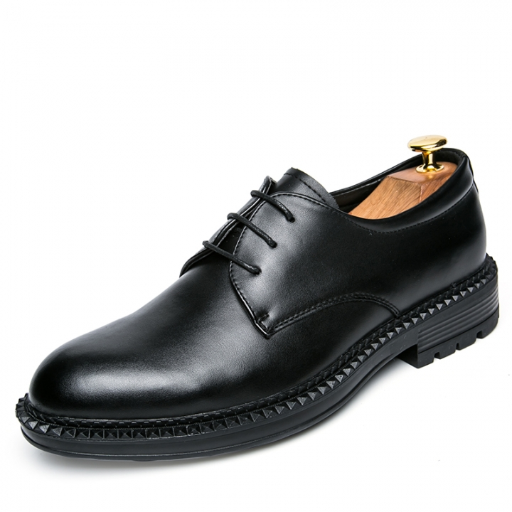 Leather Fashion Black Men Business Dress Pointy Shoes Oxford Breathable Formal Office Gentleman black 40