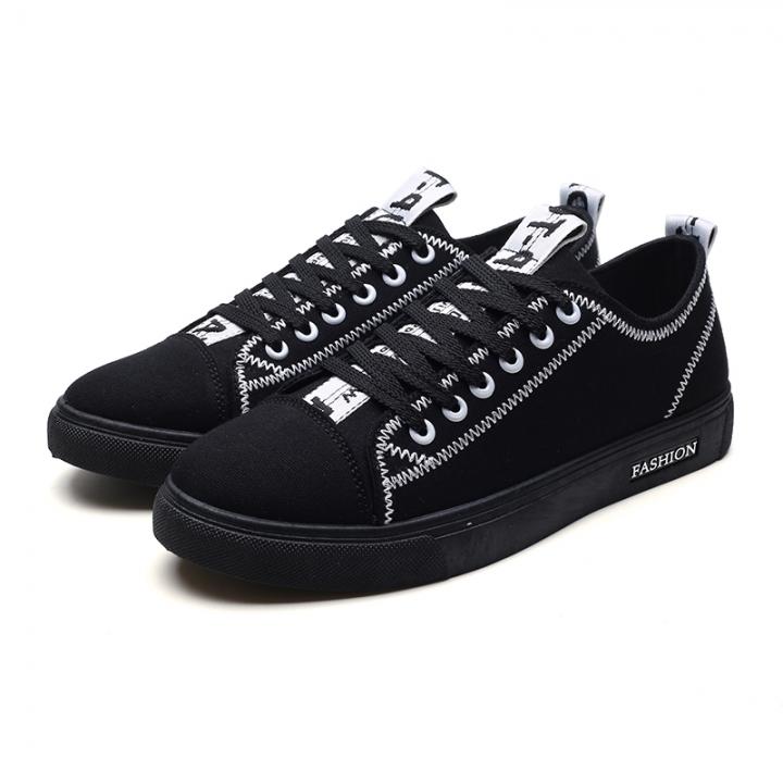 High Quality Low Top Canvas Shoes Men Casual Shoes Breathable Wear-resistant Shoes Comfortable black 41