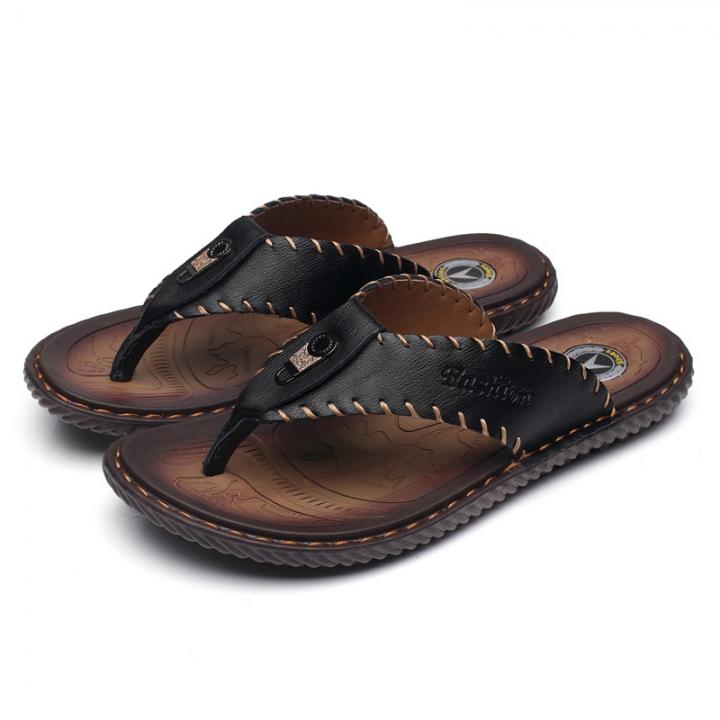 60c14a2083d31 Men Sandals Genuine Split Leather Men Beach Sandals Brand Men Casual Shoes  Flip Flops Men Slippers