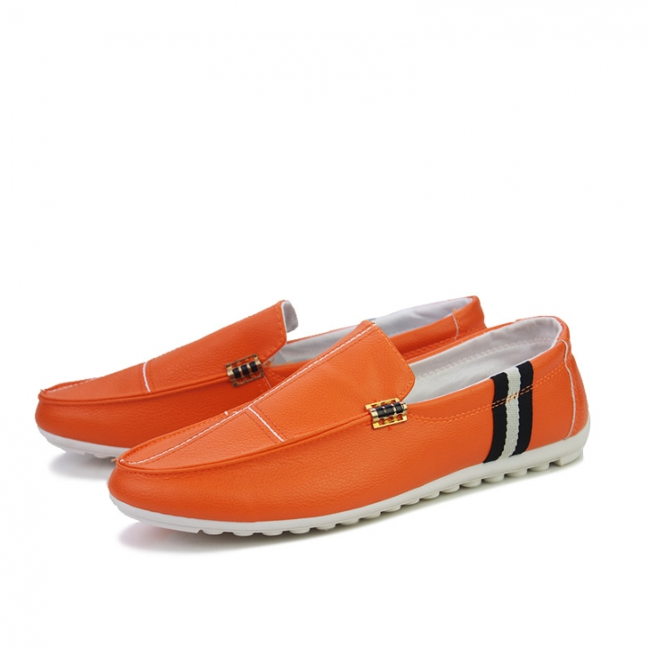 Cool Gentleman Men Driving Shoes PU Leather Man Slip On Comfortable Dress Loafers orange 43