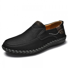 Big Size 45 46 Retro Handmade Leather Shoes Men Casual Genuine Leather Oxfords Loafers Slip On black 39