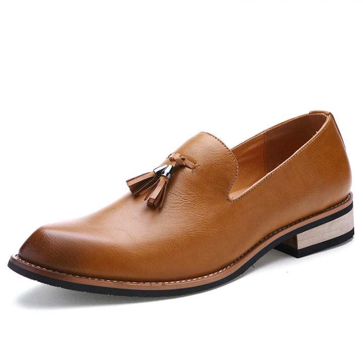 Luxury Designer Casual Party Dress Leather Flats Shoe Oxfords Tassel Loafers Male Business Shoe brown 38