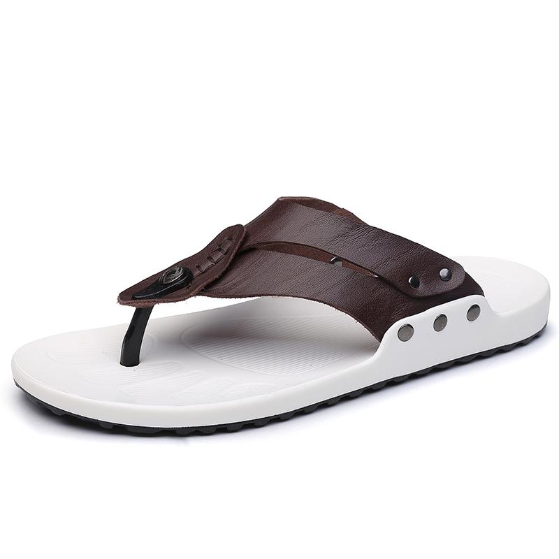 d3ec6da23240 Fashion Men Flip Flops Soft Cow Leather Summer Men Slippers Beach Sandals  Comfort Men Casual Shoes red 40  Product No  1294859. Item specifics  Brand