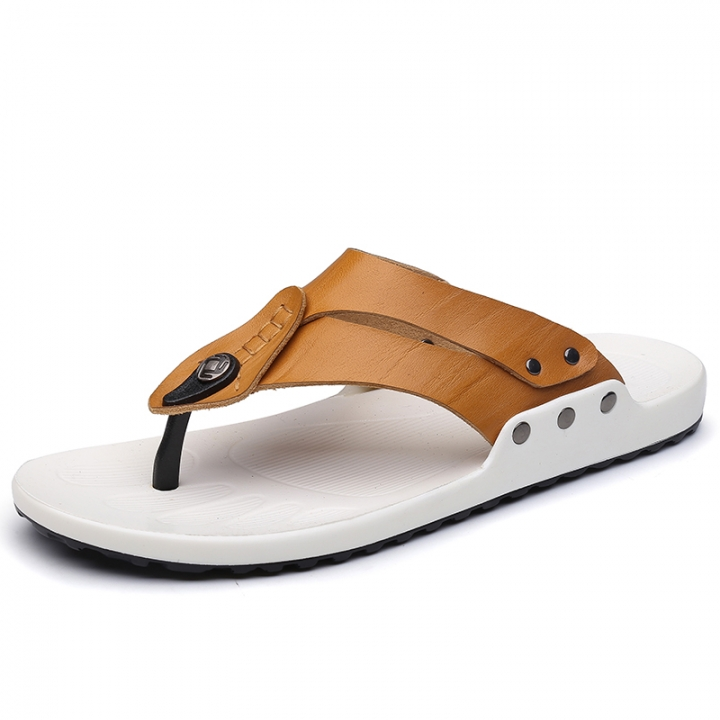aa2942bd62100b Fashion Men Flip Flops Soft Cow Leather Summer Men Slippers Beach Sandals  Comfort Men Casual Shoes