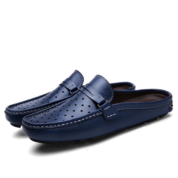 New Vintage Men Driving Shoes Summer Backless Loafers Open Backs Shoes Without Back Breathable Holes blue 38