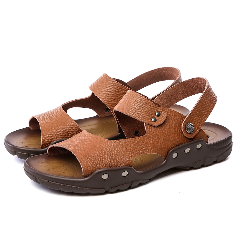 5e2214364571 Summer Men Sandals Cow Leather Casual Shoes Slippers Breathable Beach  Sandals Outdoor Shoes Male yellow 39  Product No  1295961. Item specifics   Brand