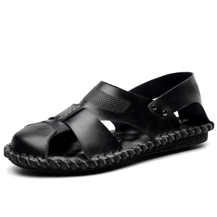 9c2fdd7f36364 Outdoor Summer Men Sandals Genuine Leather Casual Shoes Slippers Beach  Sandals Open Toe Cool black 38