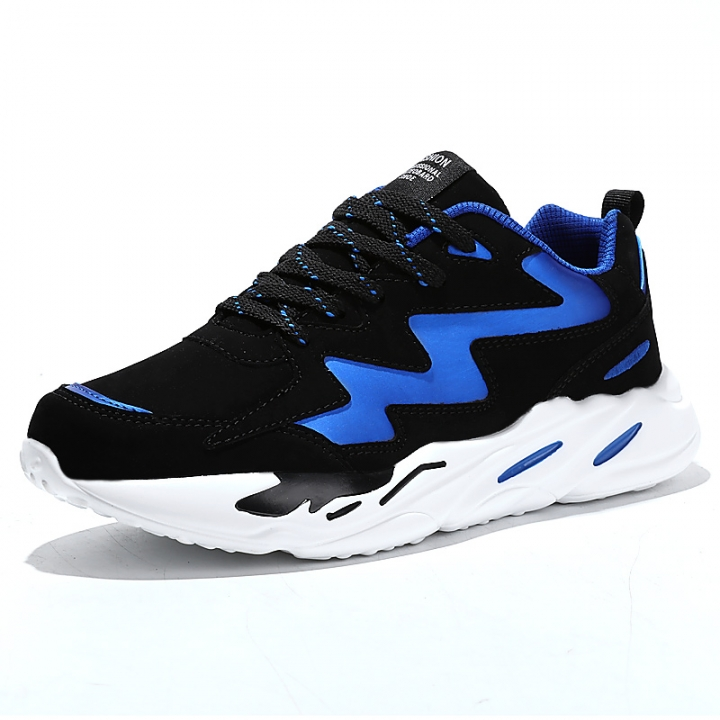 b0a37a18c5d Spring Lace-up Men Sports Shoes Outdoor Height Increasing Comfortable  Running Shoes Cool blue 43