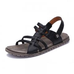 Summer Men's Leather Beach Shoes Classic Open Toe Handmade Sandals Outdoor black 38