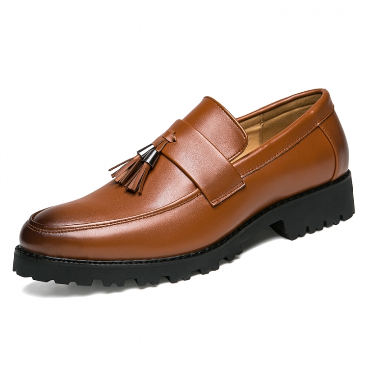 New Slip On Flats Loafers Male Shoes Fashionable Mens Casual Leather Dress Shoes Party Formal brown 44 pu leather