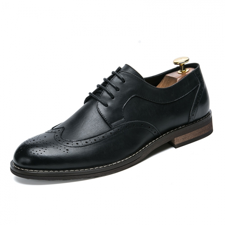 High Quality Men Oxfords Shoes British Style Formal Footwear Male Dress Shoes Pointed Toe black 40 pu leather