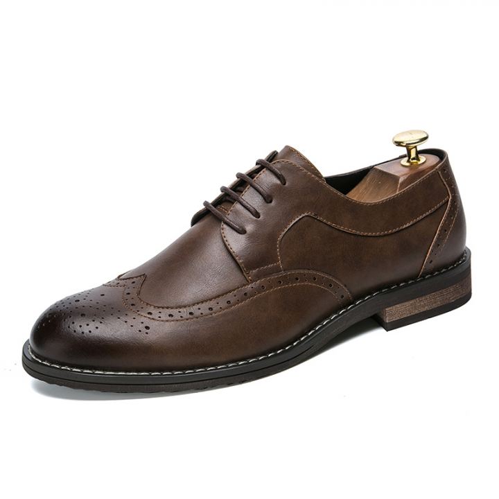 High Quality Men Oxfords Shoes British Style Formal Footwear Male Dress Shoes Pointed Toe brown 43 pu leather