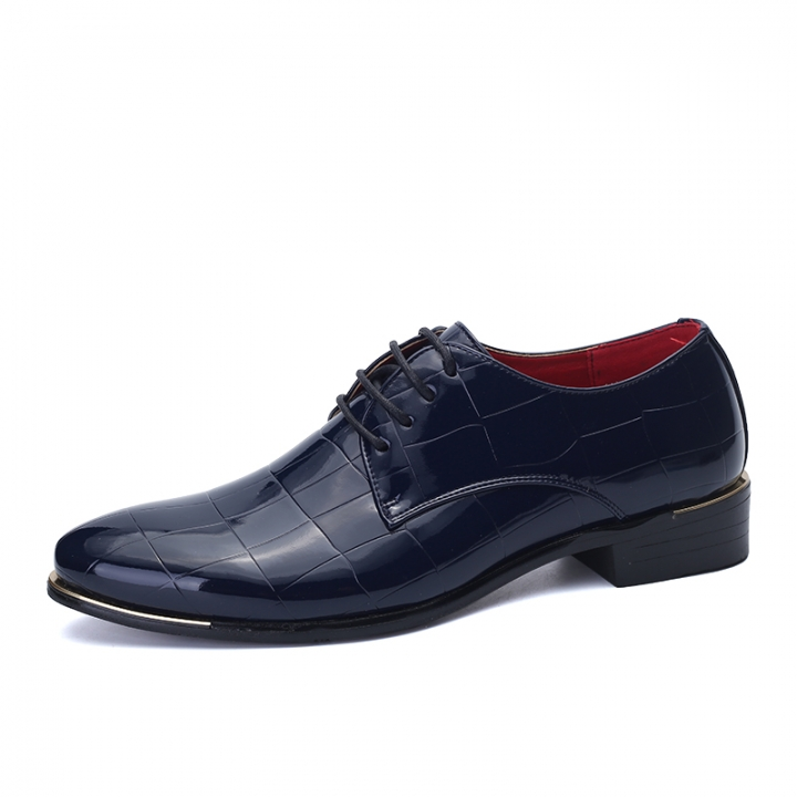 Classic Leather Men Shoes Plaid Oxford Lace Up Wedding Party Man Dress Shoes Brogue Carved blue 43 patent leather