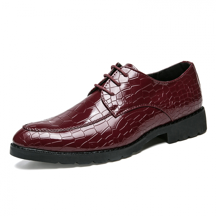 Men Dress Shoes Pointed Toe Business For Men Crocodile Leather Male Moccasins Flats red 44 pu leather