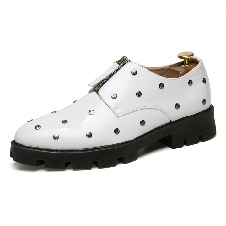 Fashion  Formal Men Shoes Business Leather Dress Male Wedding Flats Office Style white 44 pu leather