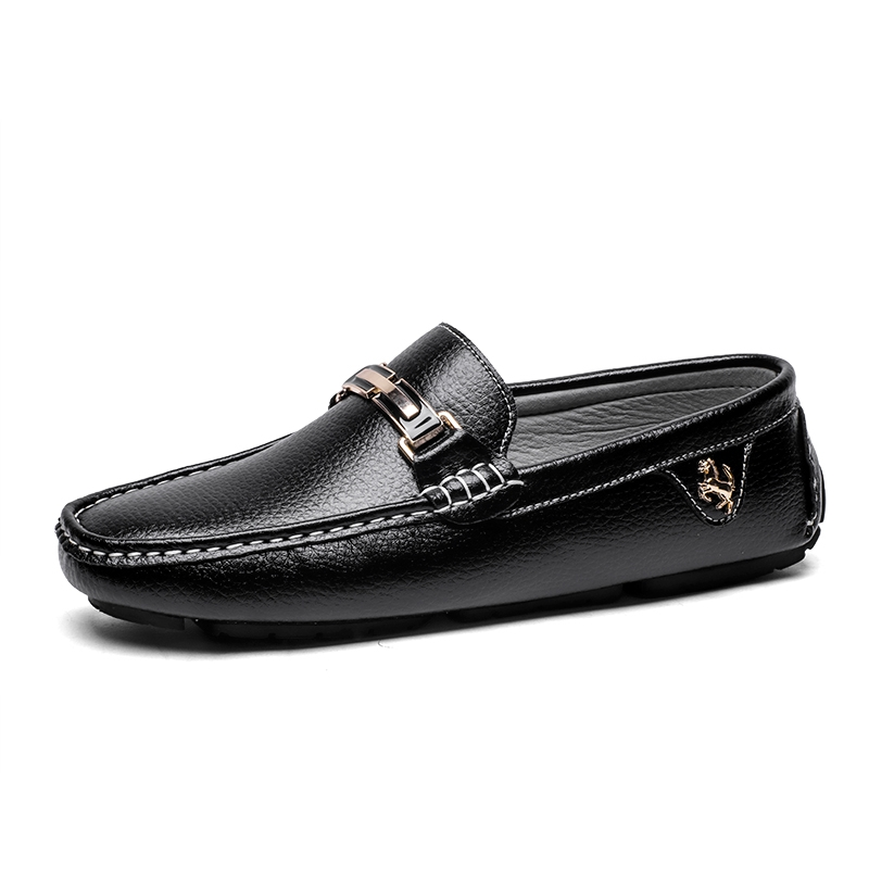 5219aeba22f18b Men Flat Shoes Quality Split Leather Men Loafers Solid Black Breathable Slip-On  Driving Shoes black 41  Product No  1440882. Item specifics  Brand