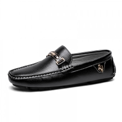 Men Flat Shoes Quality Split Leather Men Loafers Solid Black Breathable Slip-On Driving Shoes black 40
